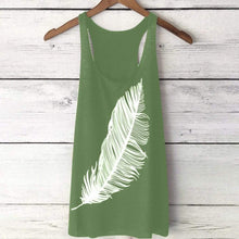 Load image into Gallery viewer, Sexy Feather Print Tank Top T-shirt