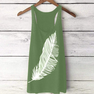 Sexy Feather Print Tank Top T-shirt