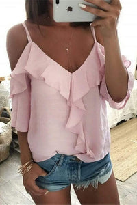 Sexy Strapless Short Sleeved T-shirt