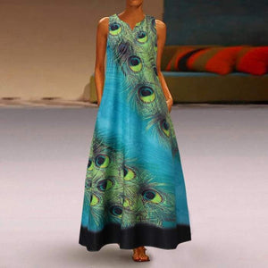Sleeveless Peacock Print Summer Beach Dresses