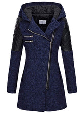 Load image into Gallery viewer, Slim-fit Slant Zip Hooded Thick Coat