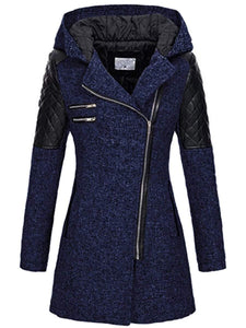 Slim-fit Slant Zip Hooded Thick Coat