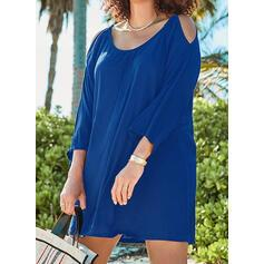 Solid 3/4 Sleeves/Cold Shoulder Sleeve Shift Above Knee Little Black/Casual/Vacation/Plus Size Dresses