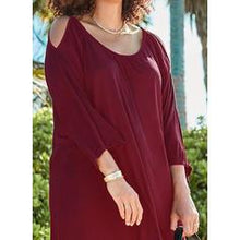 Load image into Gallery viewer, Solid 3/4 Sleeves/Cold Shoulder Sleeve Shift Above Knee Little Black/Casual/Vacation/Plus Size Dresses