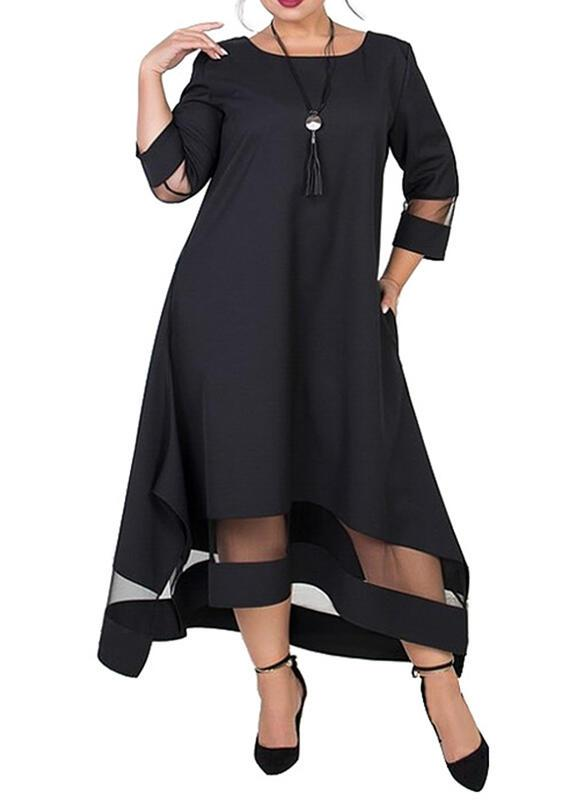 Solid 3/4 Sleeves Shift Casual/Plus Size Midi Dresses