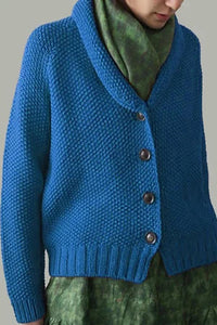 Solid Buttons Down V-neck Knitted Cardigan