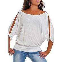 Load image into Gallery viewer, Solid Cold Shoulder 1/2 Sleeves Casual Plus Size T-shirts