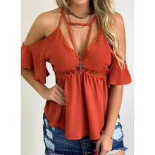 Load image into Gallery viewer, Solid Cold Shoulder 1/2 Sleeves Casual Sexy Blouses
