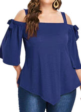 Load image into Gallery viewer, Solid Cold Shoulder Flare Sleeve 3/4 Sleeves Casual Plus Size Blouses