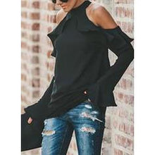 Load image into Gallery viewer, Solid Cold Shoulder Flare Sleeve Long Sleeves Casual Elegant Knit Blouses