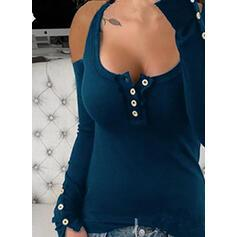 Solid Cold Shoulder Long Sleeves Button Up Casual Knit T-shirt