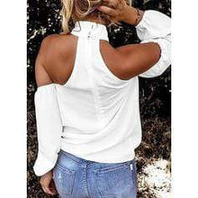 Load image into Gallery viewer, Solid Cold Shoulder Long Sleeves Casual Blouses