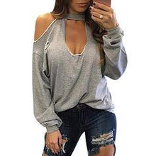 Load image into Gallery viewer, Solid Cold Shoulder Long Sleeves Casual T-shirts