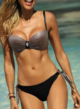 Load image into Gallery viewer, Solid Color Push Up Strap Sexy Bikinis Swimsuits