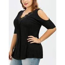 Load image into Gallery viewer, Solid Lace Cold Shoulder 1/2 Sleeves Casual Plus Size Blouses
