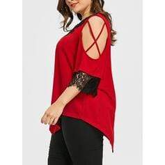 Solid Lace Cold Shoulder 3/4 Sleeves Casual Plus Size T-shirts