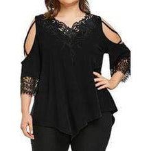 Load image into Gallery viewer, Solid Lace Cold Shoulder 3/4 Sleeves Casual Plus Size T-shirts