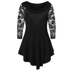 Solid Lace Round Neck 3/4 Sleeves Casual Plus Size Blouses