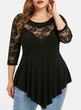 Load image into Gallery viewer, Solid Lace Round Neck 3/4 Sleeves Casual Plus Size Blouses