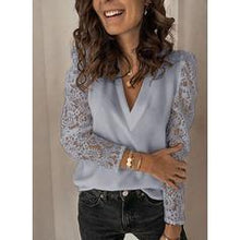 Load image into Gallery viewer, Solid Lace V-Neck Puff Sleeves Long Sleeves Casual Blouses