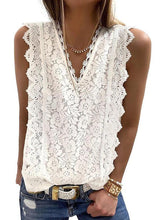 Load image into Gallery viewer, Solid Lace V-Neck Sleeveless Casual Tank Tops