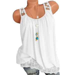 Solid Off-Shoulder Lace Hem Vest
