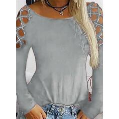 Solid Round Neck Long Sleeves Casual Knit T-shirt