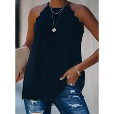 Solid Round Neck Sleeveless Casual Blouses
