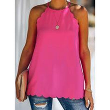 Load image into Gallery viewer, Solid Round Neck Sleeveless Casual Blouses