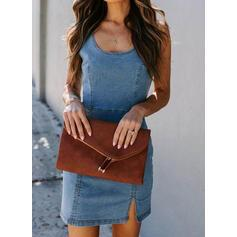 Solid Sleeveless Sheath Above Knee Casual/Denim Dresses