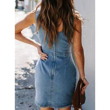 Load image into Gallery viewer, Solid Sleeveless Sheath Above Knee Casual/Denim Dresses