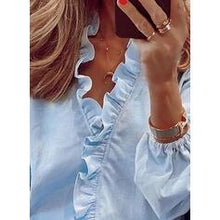 Load image into Gallery viewer, Solid V-Neck Puff Sleeves Long Sleeves Casual Ruffle Blouses