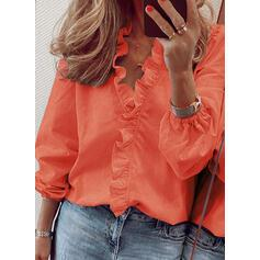 Solid V-Neck Puff Sleeves Long Sleeves Casual Ruffle Blouses