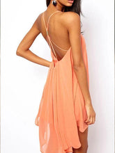 Load image into Gallery viewer, Spaghetti Strap  Asymmetric Hem Cross Straps  Casual Dresses
