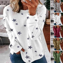 Load image into Gallery viewer, Star Print Casual Crew Neck Top