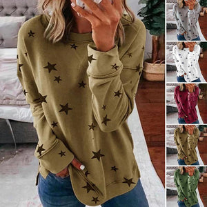 Star Print Casual Crew Neck Top