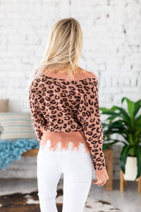 Starlah Leopard Fray Sweater