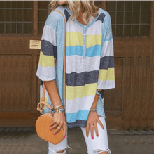 Load image into Gallery viewer, Striped Loose Casual Round Neck T-shirt