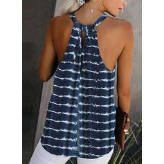 Striped Round Neck Sleeveless Casual Tank Tops
