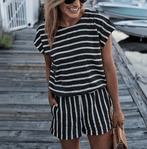 Striped Short Sleeve Jumpsuit