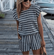 Load image into Gallery viewer, Striped Short Sleeve Jumpsuit