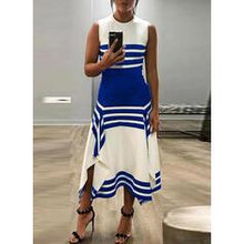 Load image into Gallery viewer, Striped Sleeveless A-line Asymmetrical Casual Dresses