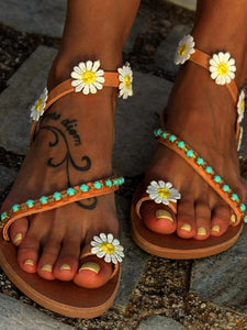 Sunflower Bead Slip On Flat Sandals