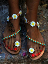 Load image into Gallery viewer, Sunflower Bead Slip On Flat Sandals