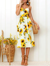 Load image into Gallery viewer, Sunflower Button Pocket Sling Floral Dresses