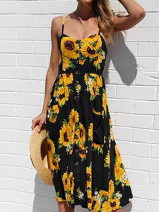 Sunflower Button Pocket Sling Floral Dresses