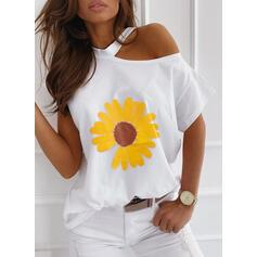 Sunflower Print One-Shoulder Short Sleeves Casual T-shirts