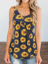 Load image into Gallery viewer, Sunflower Printed Button Tank Top