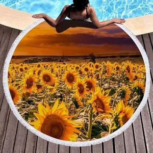 Sunset Sunflower Cover Up Beach Towel Tassel Blanket