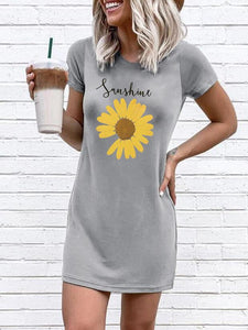 Sunshine Sunflower O-Neck Mini Dress